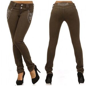 Brown Tan Embellished Butt-Lifting Skinny Jeans